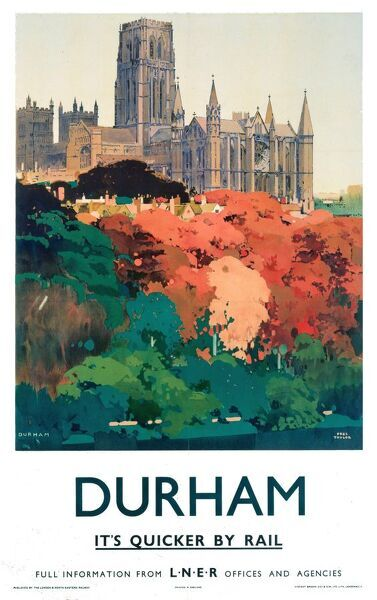 Poster produced for London & North Eastern Railway (LNER) to promote rail travel to the ancient city of Durham. Artwork by Fred Taylor (1875-1963), who was commissioned in 1930 to design four ceiling paintings for the Underwriting Room at Lloyd's