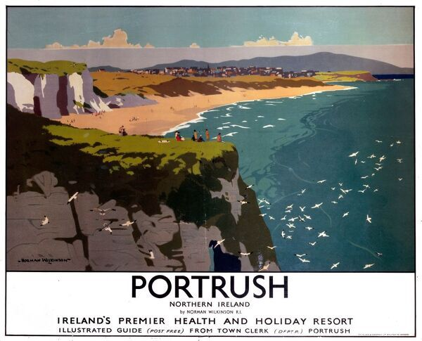 Poster produced for the London, Midland & Scottish Railway (LMS) to promote rail and sea services to Portrush, 'Ireland's premier health and holiday resort'. The poster shows a view of the beach, sea and cliffs. Artwork by Norman Wilkinson (1878-1971)