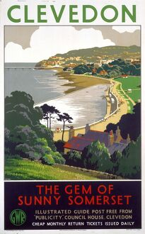 'Clevedon - The Gem of Sunny Somerset', GWR poster, 1939