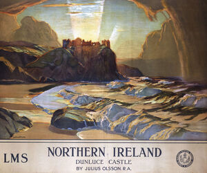 'Dunluce Castle, Northern Ireland', LMS poster, 1924.