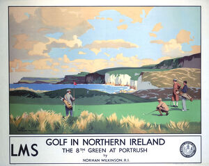 'Golf in Northern Ireland', LMS poster