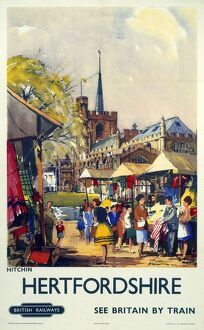 'Hitchin, Hertfordshire - See Britain by Train', BR (ER) poster, c 1955-1965